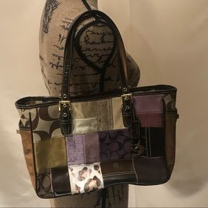 Coach patchwork brown purse tote shoulder bag
